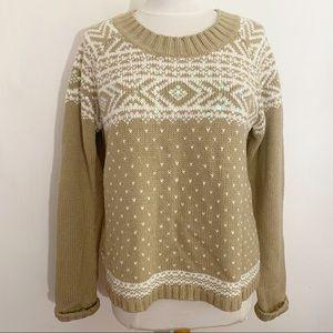 DEBBIE MORGAN crew neck rib trim sweater sequins M